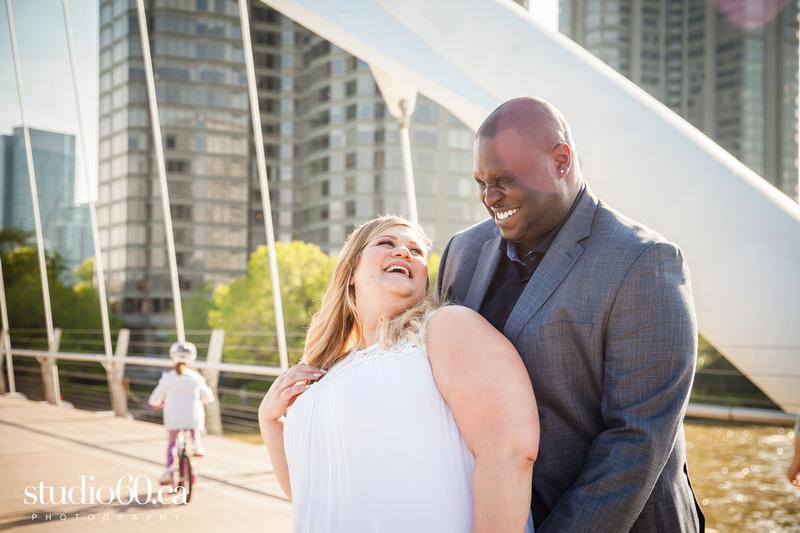 Toronto Engagement Photography Humber Bay Arch Bridge. Plus size couple Photography
